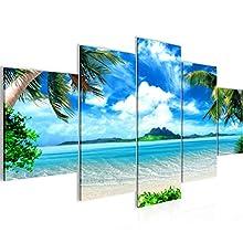 Cuadro en Lienzo Playa de Mar 150 x 75 cm - XXL Impresión Material Tejido no Tejido Artística Imagen Gráfica Decoracion de Pared - 5 piezas - Listo para colgar - 603353a