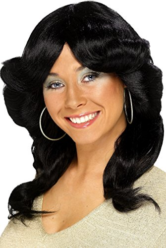 Smiffys Women's Long Wavy and Layered Black 70's Flick Wig, One Size, 5020570422502 ()