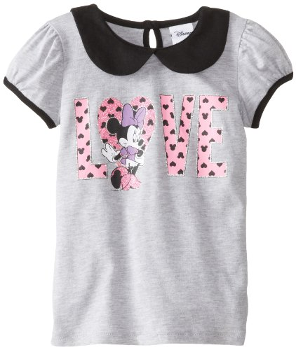 Girls Puff Sleeve Top (Disney Little Girls' Minnie Puff Sleeve Top with Collar, Heather Grey, 6)