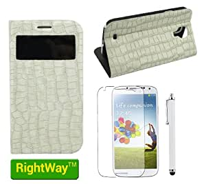 Rightway Crocodil Skin folio stand Leather Case with windown view and credit card holder for Samsung Galaxy S4 with one screen protector and one stylus white
