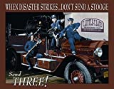 Three Stooges Fire Department Tin Sign 16 x 13in