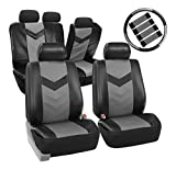 FH Group PU021GRAYBLACK-COMBO Seat Cover (Premium Synthetic Leather with Accessories Combo Set Airbag Compatible Gray/Black)