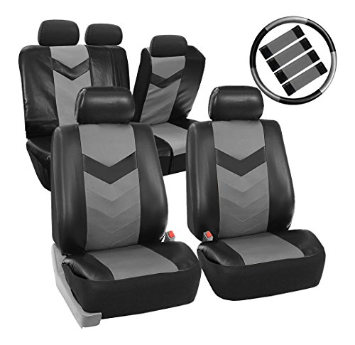 - FH Group PU021GRAYBLACK-COMBO Seat Cover (Premium Synthetic Leather with Accessories Combo Set Airbag Compatible Gray/Black)