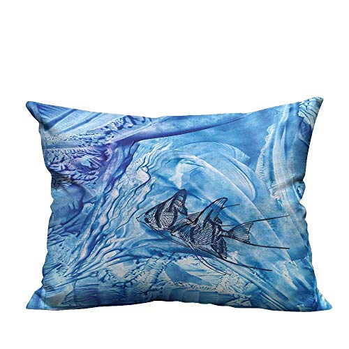 YouXianHome Print Bed Pillowcases Small Fish in Creepy Snow Ice Crystal Labyrinth Aquatic Theme Blue Washable and Hypoallergenic(Double-Sided Printing) 24x24 ()