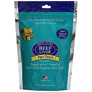 Stewart Pro-Treat, Freeze Dried Beef Liver Dog Treats, Single Ingredient, Grain Free, USA Made, 4 oz. Resealable Pouch