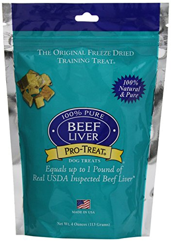 (Stewart Pro-Treat, Freeze Dried Beef Liver Dog Treats, Single Ingredient, Grain Free, USA Made, 4 oz. Resealable Pouch)