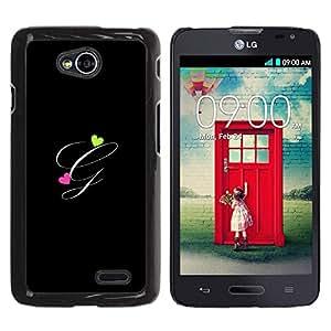 Be Good Phone Accessory // Dura Cáscara cubierta Protectora Caso Carcasa Funda de Protección para LG Optimus L70 / LS620 / D325 / MS323 // Black Initials Letter Calligraphy Text