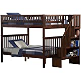 Woodland Staircase Bunk Bed Antique Walnut Full Over