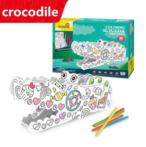 nueva marca Crocodile Rompecabezas Slebs Crafts 3D Puzzlesc Coloring Cabin Cabin Cabin Animal Cortar Hechos A Mano hombres Y mujeres 13.9 x 11.9 x 11.6cm x 15 x 7.4 x 26.2cm Búho Pluma Barril y Marco de la Foto de la Jirafa  mas barato