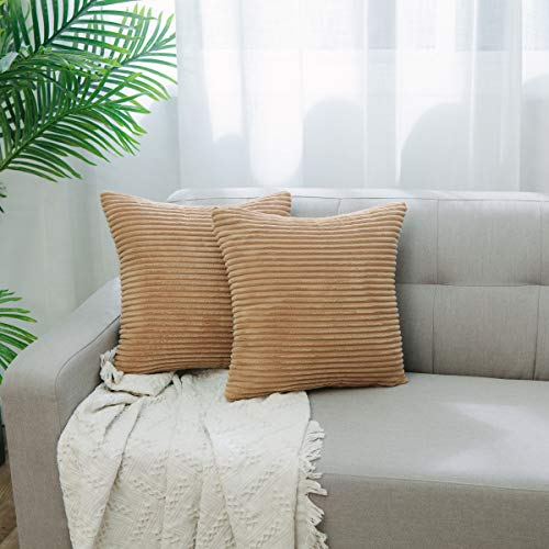 NATUS WEAVER Decorative Soft Velvet Corduroy Striped Square Throw Pillow Cushion Cover for Couch, 18 x 18 inch, Taupe, 2 Packs