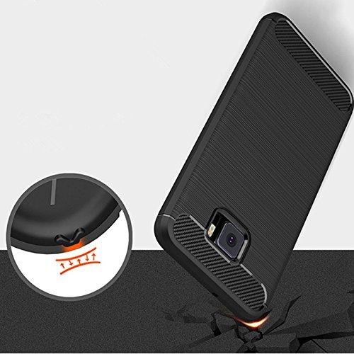 """Asus Zenfone V V520KL Case [Not compatible Zenfone V Live], Dretal Carbon Fiber Shock Resistant Brushed Texture Soft TPU Full-body Protective Case Cover For Asus Zenfone V V520KL (5.2"""") (Black)"""