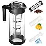 Cold Brew Coffee Maker (1.3L/44OZ Iced Tea&Coffee Maker) 4-IN-1 BPA Free Glass Coffee Brewer System; Dishwasher Safe Coffee Filter Pitcher Carafe with Non-slip Silicone Base/Spout Lid/Mesh Filter