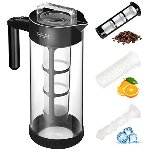 Cold Brew Coffee Maker (1.3L/44OZ Iced Tea&Coffee Maker) 4-IN-1 BPA Free Glass Coffee Brewer System; Dishwasher Safe Coffee Filter Pitcher Carafe with Non-slip Silicone Base / Spout Lid / Mesh Filter Dishwasher Safe Coffee Maker
