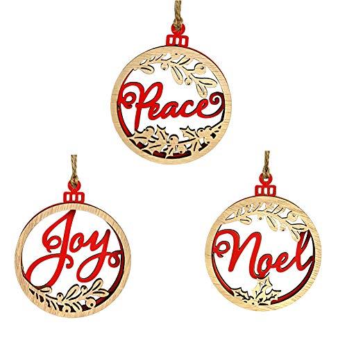 - angel3292 3Pcs/Set Joy Peace Noel Christmas Tree Hanging Wooden Tags Pendant Xmas Decor