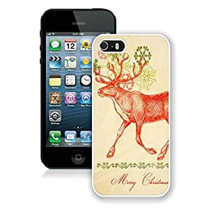 Personalize offerings Iphone 5S Protective Cover Case Christmas Deer iPhone 5 5S Case 6 White