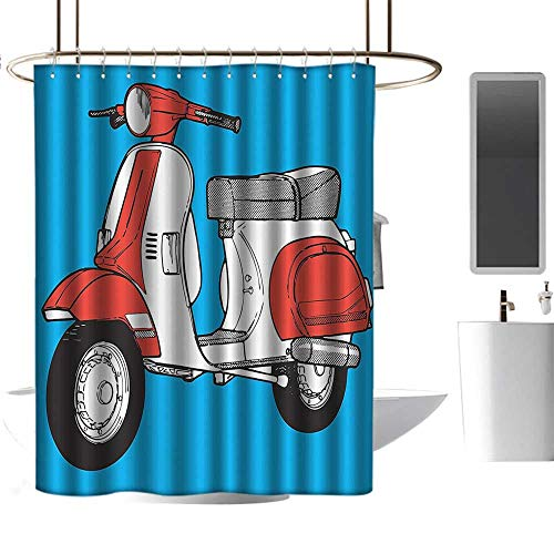 (Shower Curtains for Bathroom map Funky Decor,Cute Scooter Motorcycle Retro Vintage Vespa Soho Wheels Rome Graphic Print,Blue Red White,W48 x L84,Shower Curtain for Men)