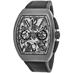 Franck Muller Vanguard Mens Automatic Date Chronograph Grey Camouflage Face Grey Rubber Strap Watch V 45 CC DT CAMOUFLAGE TTMC.TT