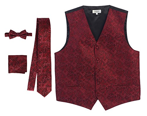 Gioberti Men's 4 Piece Formal Paisley Vest Set, Burgundy, 2X Large