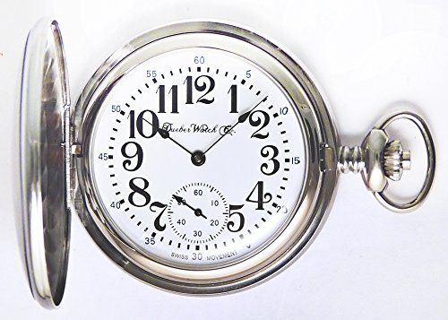 Dueber Swiss Mechanical Pocket Watch, High Polish Chrome Hunting Case, Assembled in USA!