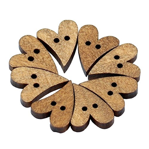 00Pcs 2 Holes Lovely Brown Wood Wooden Sewing Heart Shape Button Craft N3 By E-UNIONA (Heart Sewing)