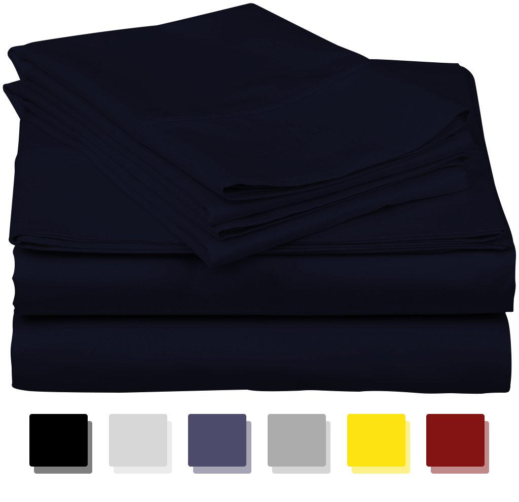 600-Thread-Count Best 100% Egyptian Cotton Sheets & Pillowcases Set - 4 Pc Navy Blue Long-Staple Cotton Bedding Full Sheet for Bed, Fits Mattress Upto 18'' Deep Pocket, Soft & Silky Sateen Weave