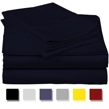 Thread Spread True Luxury 100% Egyptian Cotton - Genuine 1000 Thread Count 4 Piece Sheet Set- Color Navy,Size California King - Fits Mattress Upto 18'' Deep Pocket