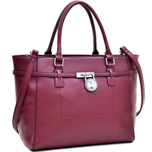 dasein-womens-designer-handbag-belted-padlock-satchel-handbag-faux-leather-medium-zip-top-tote-bag-i