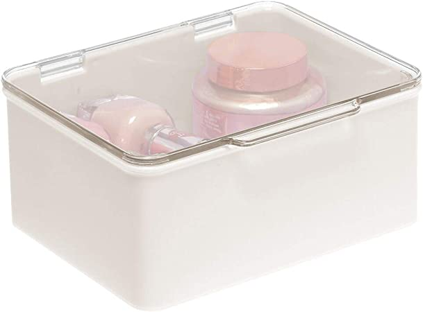 mDesign Organizador de maquillaje para lavabo o estantes de baño – Estuche de maquillaje con tapa para cosméticos, pintaúñas, etc. – Caja de plástico apilable – crema/transparente: Amazon.es: Hogar