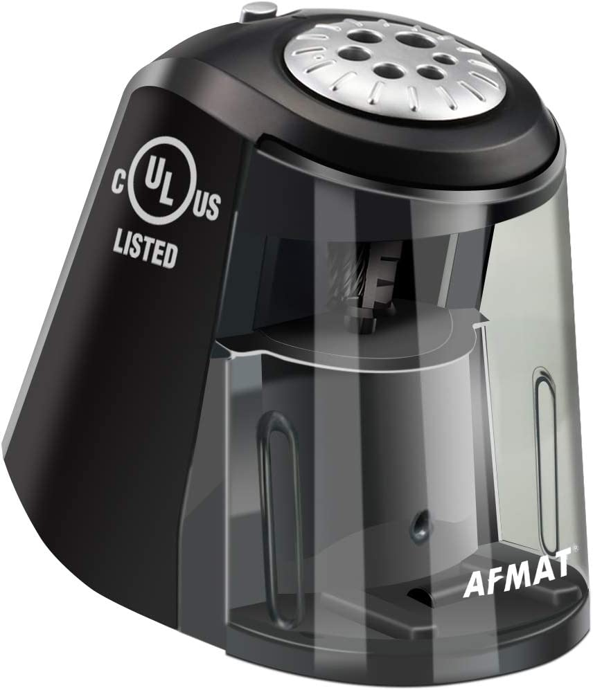 AFMAT Electric Pencil Sharpener Heavy Duty, 6 Holes, Large Adjustable Pencil Sharpener for Artists, Super Quiet Classroom Electric Sharpener with Helical Blade, Auto Stop for 6-11mm Jumbo Pencils