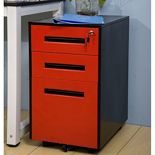 [Merax Metal Solid Mobile Storage 3 Drawer File Cabinet with Keys, Fully Assembled Except Casters (Black and Burgundy)] (Storage Cabinet File Cabinet)