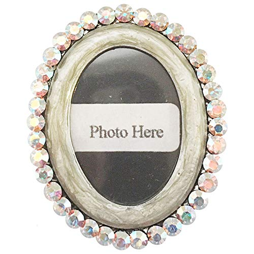 (GIRLPROPS 1.25 X 1.5 Enamel and Rhinestone Photo Frame Pin/Pendant, Exclusively Ours!, in Grey with Ab)