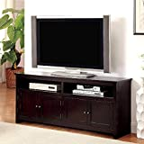 1PerfectChoice Regent Transitional TV Console Stand Table Cabinet Door Open Shelves Espresso