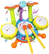 POKONBOY Kids Drum Set Toddler Toys with Adjustable Microphone, Musical Instruments Playset Fit f...