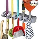 utility hooks for brooms - Mop Broom Holder Wall Mounted Kitchen Hanging Garage Utility Tool Organizers and Storage Rack For Commercial Bathroom Laundry Room Closet Gardening