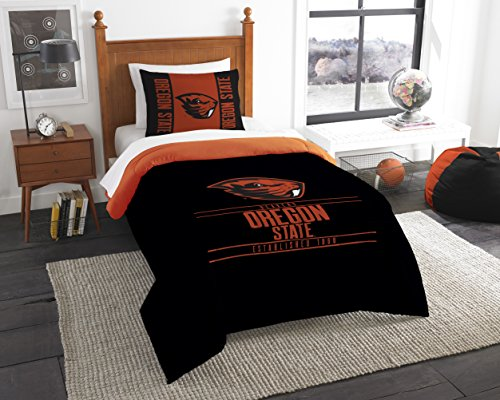 The Northwest Company Officially Licensed NCAA Oregon State Beavers Modern Take Twin Comforter and Sham
