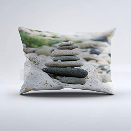 Zippered Pillow Covers Pillowcases One Side 12x20 inch Stones Zen in The Beach of Almeria Pillow Cases Cushion Cover for Home Sofa Bedding