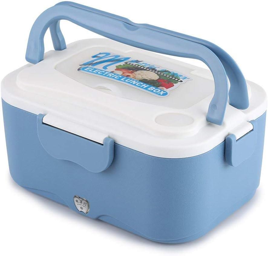 1.5L Fiambrera Eléctrica Comida Térmico Lunch Box Fiambreras bento Uso en Coche Eléctrica con Small Dish Box Palillos Tenedor Cuchara Recipiente de Comida Térmico 45W(12V-Blue)