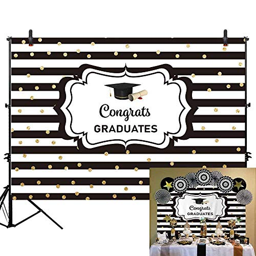 Allenjoy 7x5ft Congratulate Graduation Backdrop Black and White Stripes Gold Dots Congrats Grad Class of 2019 Photography Background Prom Party Banner Event Supplies Decoration Photo Studio Props -