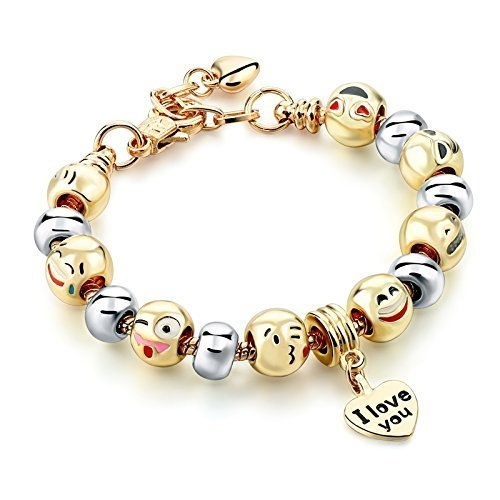 Emoji Bracelet for women interchanged gold and silver beads emoji bracelet With Heart