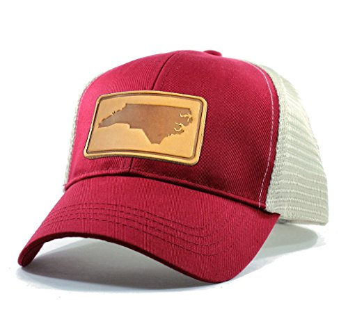 - Homeland Tees Men's North Carolina Leather Patch Trucker Hat - Red