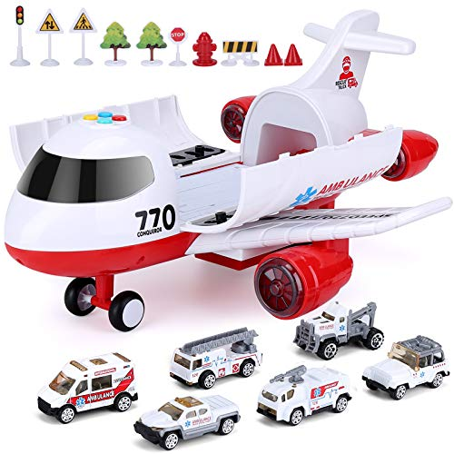 Airplane Toy, Kids Plane with Light and Sound for 3 4 5 6 7 Year Old Boys Girls Toddlers, 15 Inches Ambulance Aircraft…