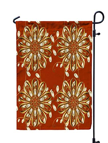 ROOLAYS Outdoor Seasonal Garden Flags Stands Pattern Gold Antique Floral Medieval Leaves Golden Ornaments Orange Brown Colors Royal Luxury Double Sided Colorful Holiday Yard Flag 12X18 inches ()