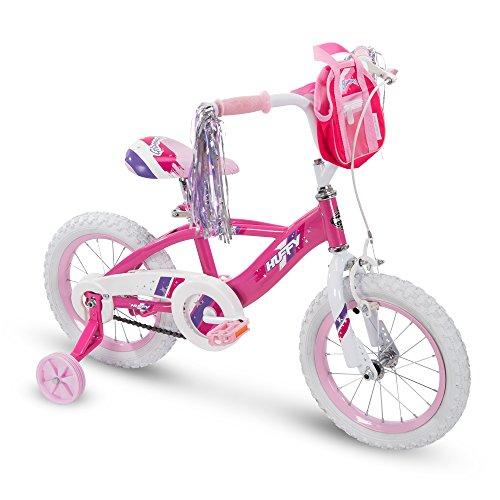 Huffy Glimmer - Bicicleta para niñas (12,14,16,18' con Soporte, Ruedas de Entrenamiento y Cesta de manubrio