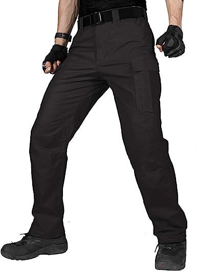 Zylioo Mens Water Repellent Ripstop Tactical Cargo Pants Lightweight Quick Dry Combat Work Trousers for Hiking Summer
