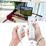 EEEKit 2 Pcs Remote and Nunchuk Controller Combo Set w/ Silicone Case and Strap for Nintendo Wii/Wii U/Wii mini Game