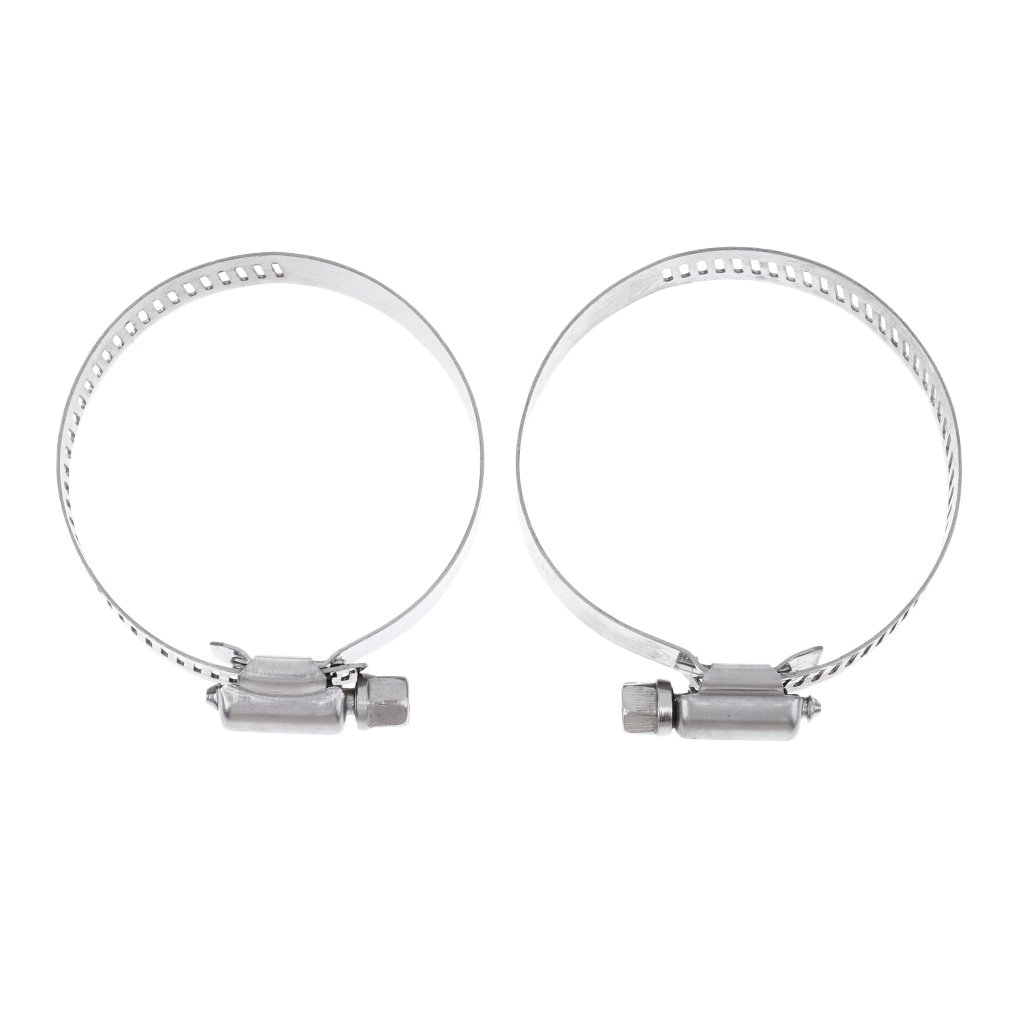 Sharplace 2 Pieces 14mm - 63mm Stainless Steel Hose Clips Adjustable Water Gas Pipe Worm Drive Hose Clamps - Silver, 33-57mm