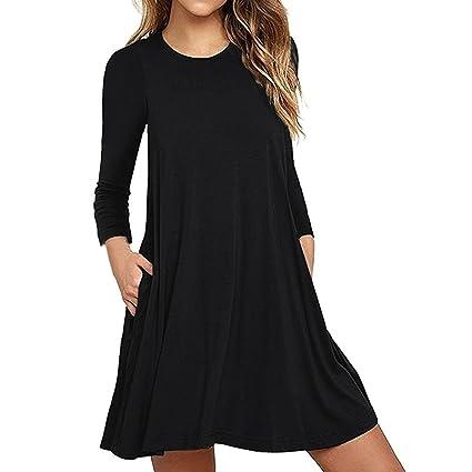 2a0bdda99b6 NEARTIME Women Dress New Fashion Autumn Winter Women s Long Sleeve Pocket  Casual Loose T-Shirt