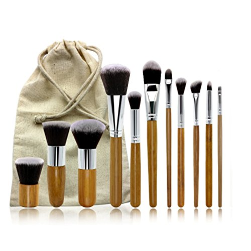 Makeup Brush Set - 11 Piece Set with Premium Synthetic Hair and Natural Bamboo Handles-Vegan Make up Brush Set - Face Powder Brush Makeup Brush Kit