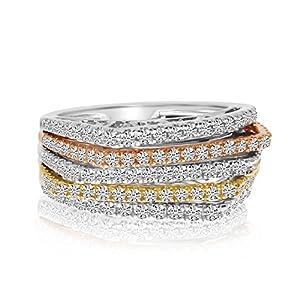 14k Tri Color Gold Diamond Ring - Size 6.5