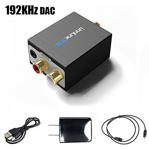 Unnlink 192KHz 24Bit DAC SPDIF Digital Optical Toslink Coaxial to Analog RCA L/R 3.5mm Audio Converter Adapter with USB DC/5V Power Adapter and Toslink Cable by Unnlink